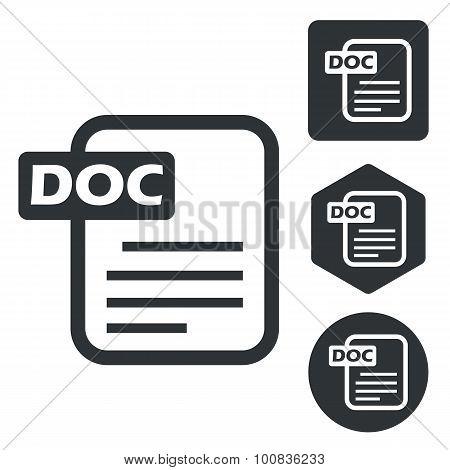 DOC document icon set, monochrome