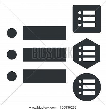 Dotted list icon set, monochrome