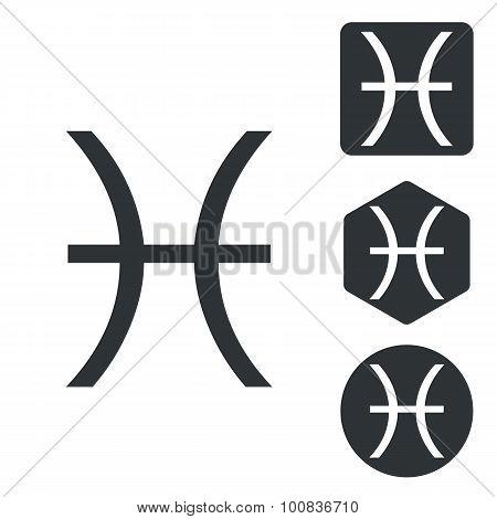 Pisces icon set, monochrome