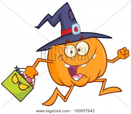 Witch Pumpkin Character Running With A Halloween Candy Basket