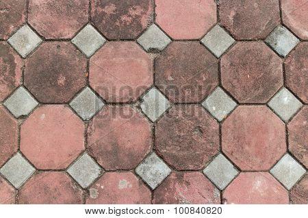 Paving Octagon Brick Walkway The Pattern Of Stone Block Paving