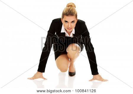 Businesswoman getting ready for competition.