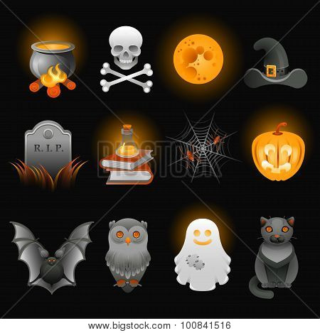 Halloween Spooky Icons Set.
