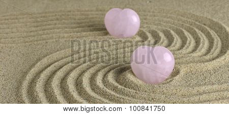 Rose Quartz Heart In Zen Garden