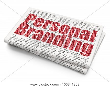 Advertising concept: Personal Branding on Newspaper background