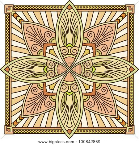 Abstract Vector Colored Square Lace Design In Mono Line Style - Mandala, Ethnic Decorative Element.