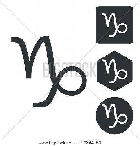 Capricorn icon set, monochrome
