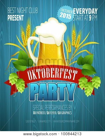 Oktoberfest Background with Beer. Poster template. Vector illustration