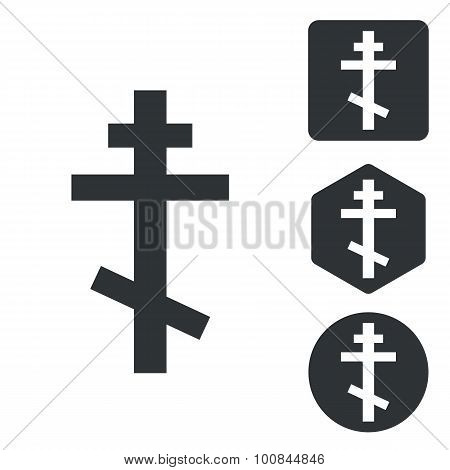 Orthodox cross icon set, monochrome
