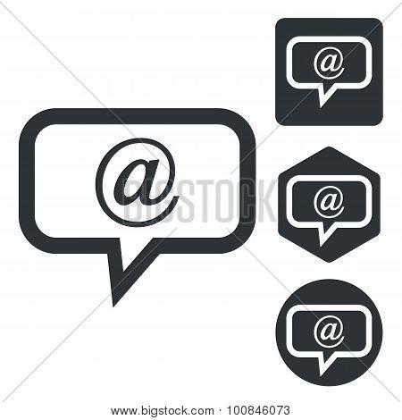 E-mail message icon set, monochrome