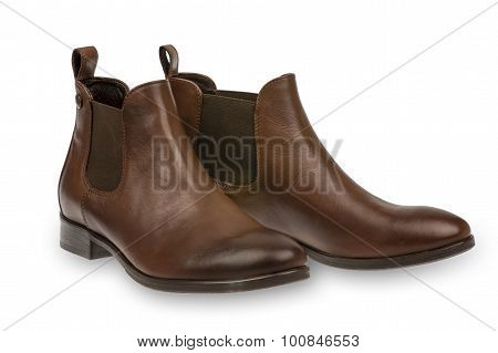Brown woman  boots isolated.