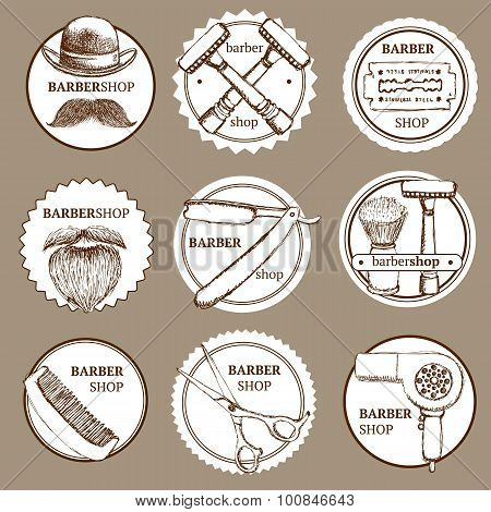 Sketch Set Of Barbershop Logotypes