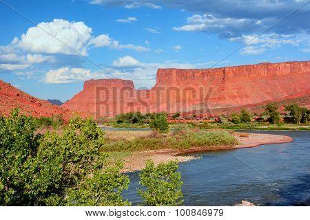 MOAB, UTAH - AUGUST 17, 2015: Red Cliffs Lodge, Moab. The lodge also home to Castle Creek Winery lies on the banks of the Colorado River along scenic Highway 128