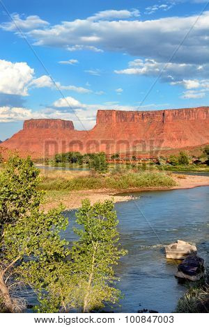 MOAB, UTAH - AUGUST 17, 2015: Red Cliffs Lodge. The lodge also home to Castle Creek Winery lies on the banks of the Colorado River along scenic Highway 128