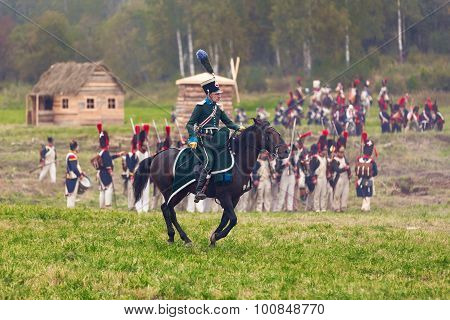 Borodino, Russia - September 06, 2015 -  Reenactment Of The Battle Of Borodino (Patriotic War)