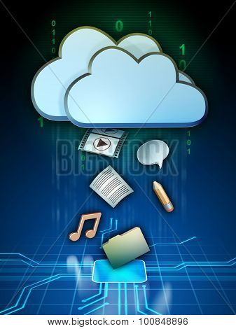 Different media files are being uploaded to a cloud storage system. Digital illustration.