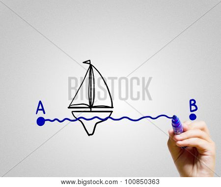 Close up of male hand drawing way from A to B point
