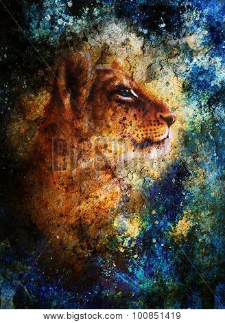 Little lion cub head. animal painting, blue color abstract background with spots and crackle.