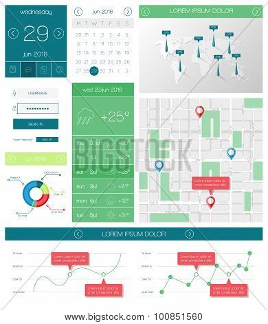 Ui, templates and elements of infographics. Vector illustration.