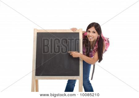 Education Series Template - Friendly Hispanic Woman High School Student By Board