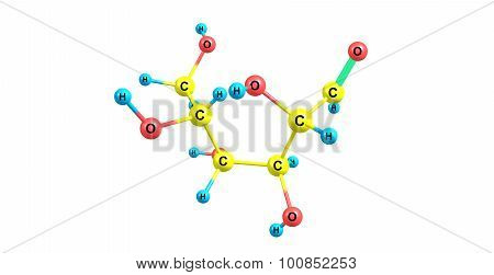 Mannose molecular structure isolated on white