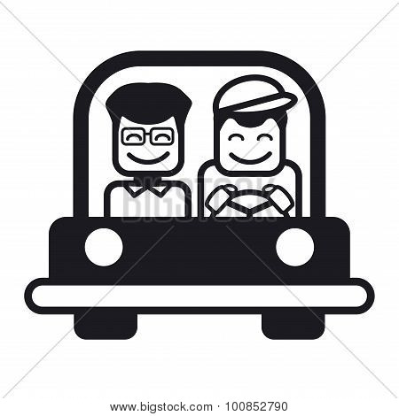 Young Man With A Friend Driving A Car. Vector Illustration.