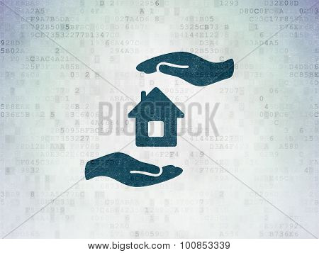 Insurance concept: Home Insurance on Digital Paper background