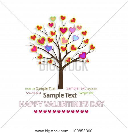Vector Illustration Of A Love Tree. Creative Background For Valentine's Day..