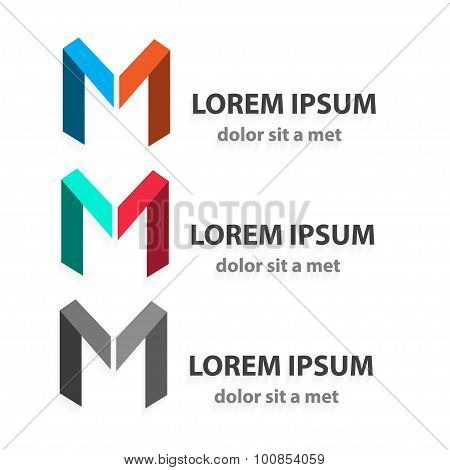 Creative Vector Origami Icon Set, Letter M. Abstract Ribbon Shape. Modern Idea For Your Company.