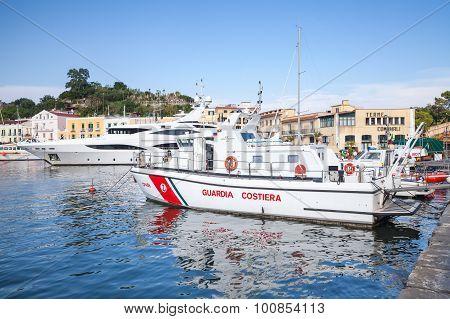 White Italian Coast Guard Boat In Port