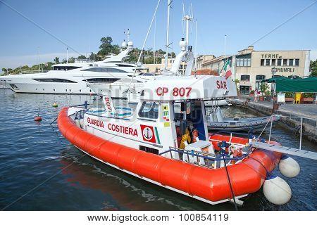 White And Red Italian Coast Guard Boat
