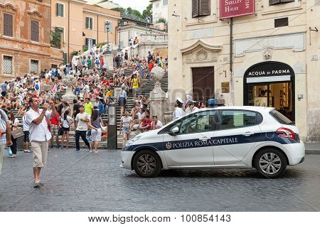 White Police Car Stands On Street In Rome