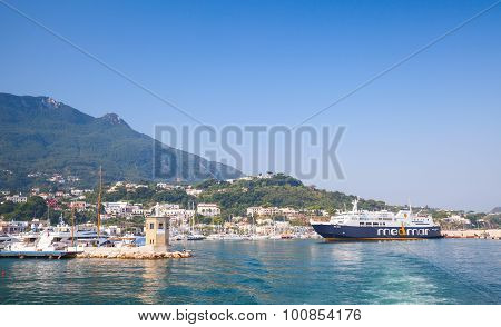 Ferry Enters Casamicciola Terme Port Of Ischia