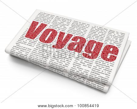 Tourism concept: Voyage on Newspaper background