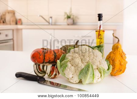 Vegetable On White Board In Kitchen