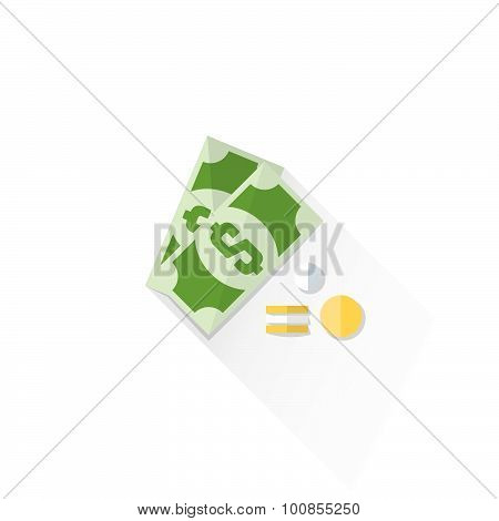 Color Cash Money Dollar Sign Icon Illustration.