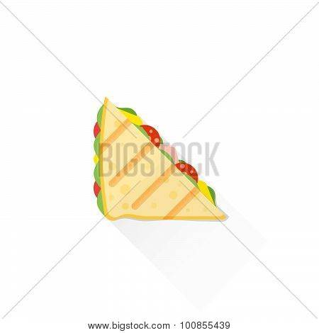 Color Fast Food Club Sandwich Icon Illustration.