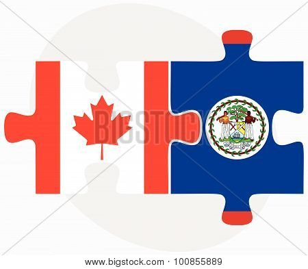Canada And Belize Flags