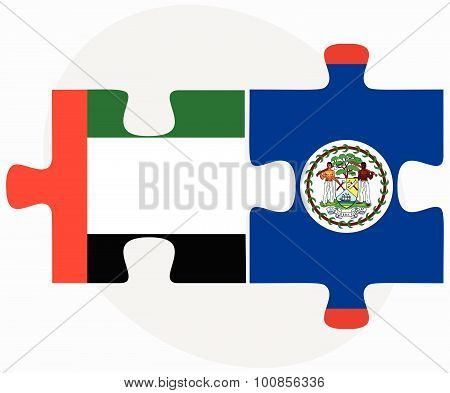 United Arab Emirates And Belize Flags