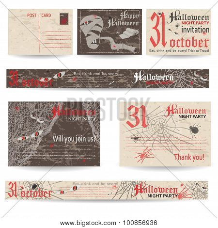 Set of vintage post  cards and banners for Halloween party