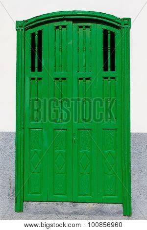 Green Door-spanish Architecture-canary Isl.,spain