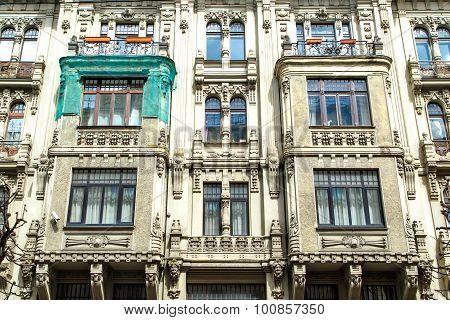 Jugendstil Building In Riga Alberta Street