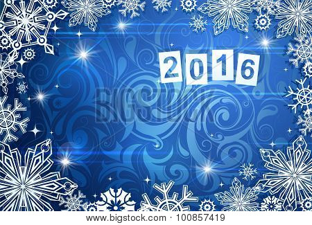 Seasonal card for year 2016 with frost backdrop