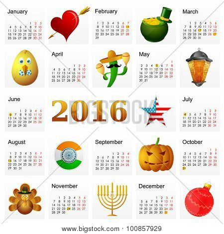 Year 2016 calendar with Holiday symbols