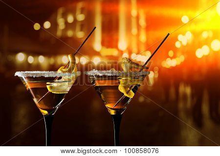 Glasses Of Martini With Lemon