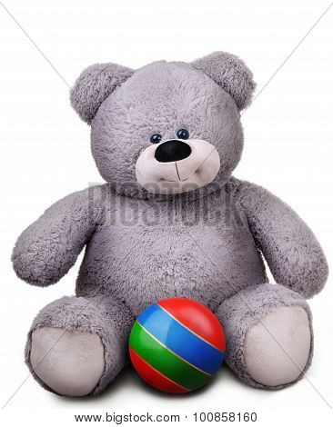 Toy soft teddy bear with striped ball
