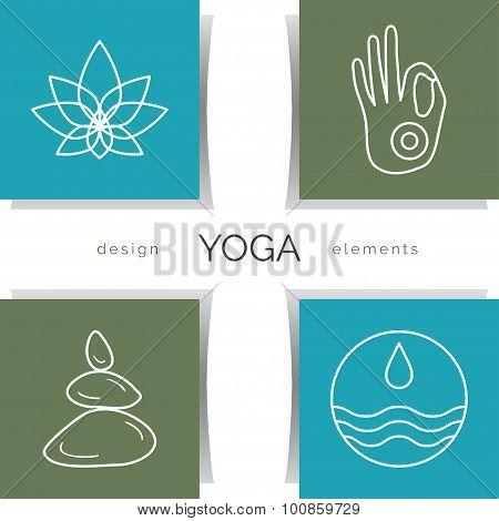 Set of linear yoga icons, yoga logo in outline style.