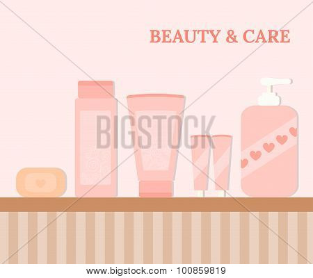 Tubes And Bottles With Cosmetics.