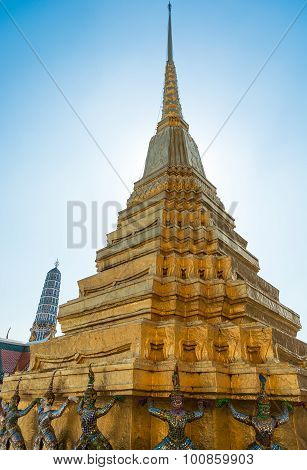 Gold Stupa In Thailand