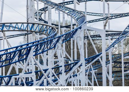 Detail of Rollercoaster Track white and blue